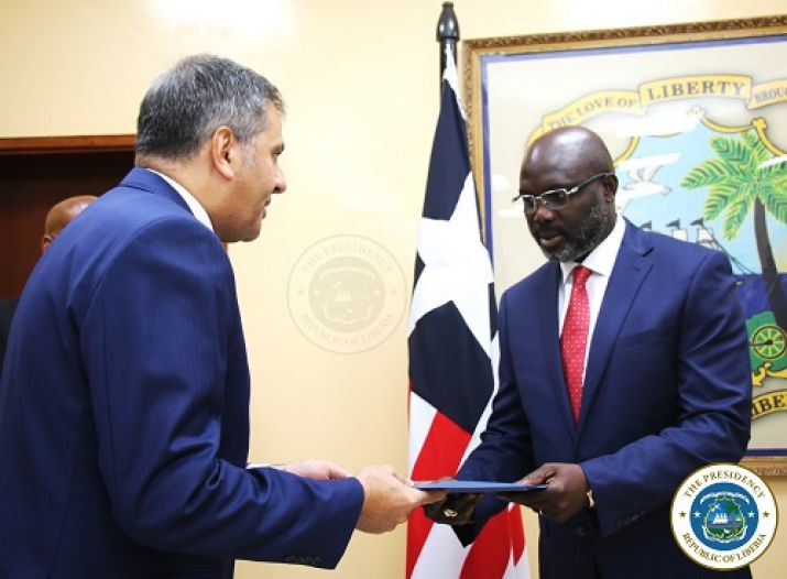 Egypt's Ambassador, Mr. Ahmed El-Sayed Helal presents his letter of credence to President Dr. George Manneh Weah