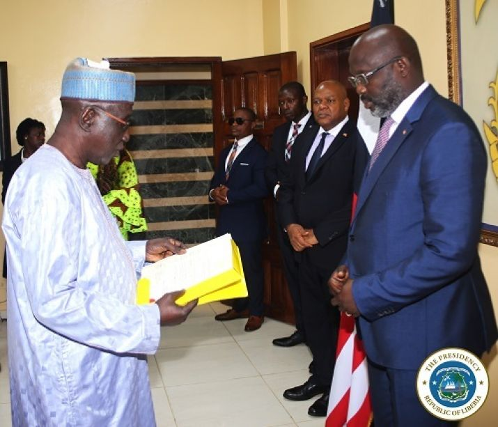 Gambia's Ambassador reads and presents his letter of credence to Dr. George Manneh Weah