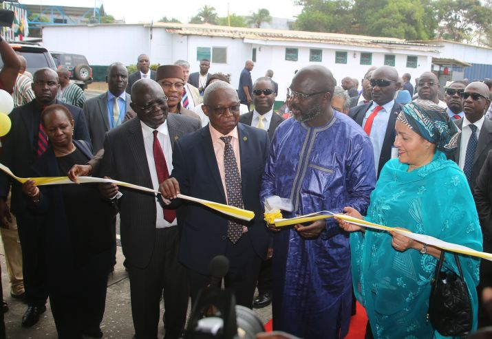 Pres Weah and DEP SG Mohammed cutting the ribbon at the building of  new ECOWAS Radio