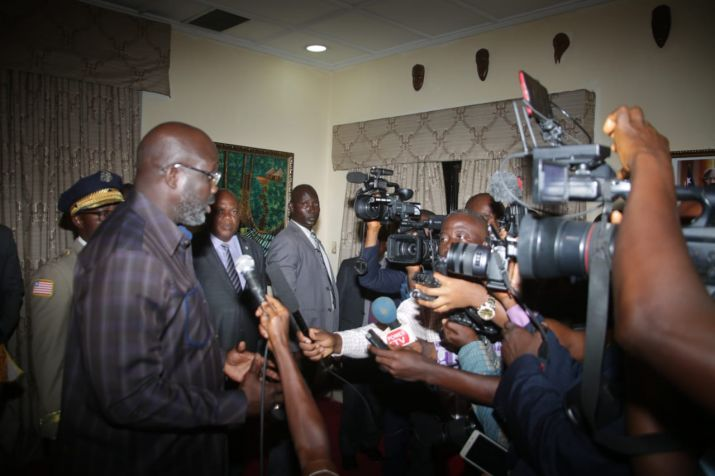 Pres. Weah addresses EM Press At RIA