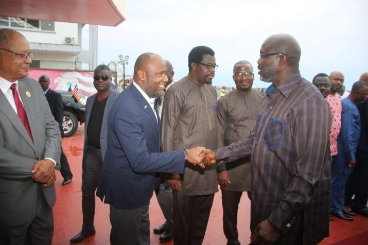 Pres. Weah greets officials of government at RIA