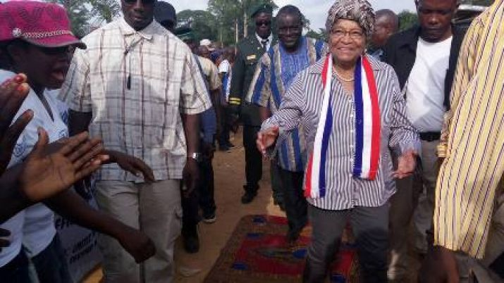 President Sirleaf upon arrival in Grand Kru County.