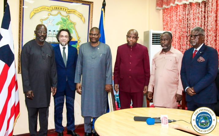 President Weah and Cabinet Ministers along with Liberia Ambassador to Italy pose with the Ambassador of Italy, H E Stefano Lo Savio