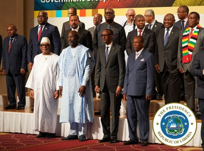 President Weah and a few African leaders pose in a group photo at TICAD 7 opening ceremony