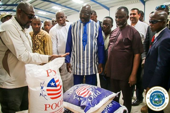 President Weah and officials looking at the quality of the Pro-Poor Rice