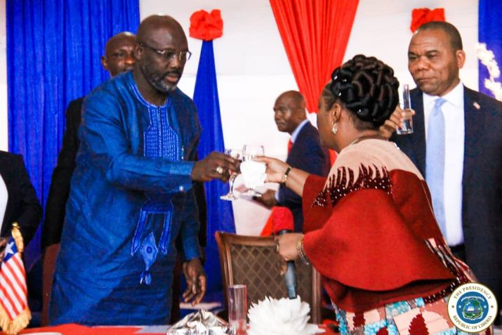 President Weah, VP toast at the ceremony