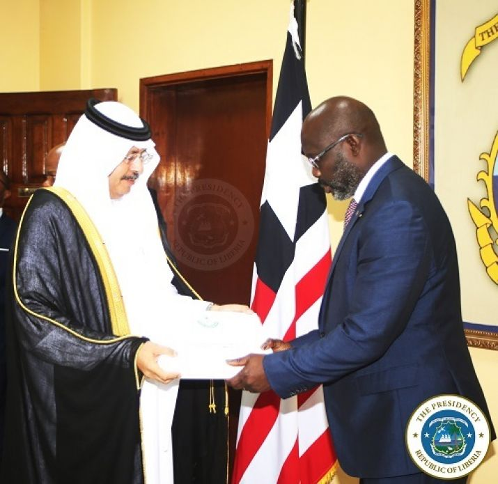 Ambassador of the Kingdom of Saudi Arabia presents his letter of credence to President Weah