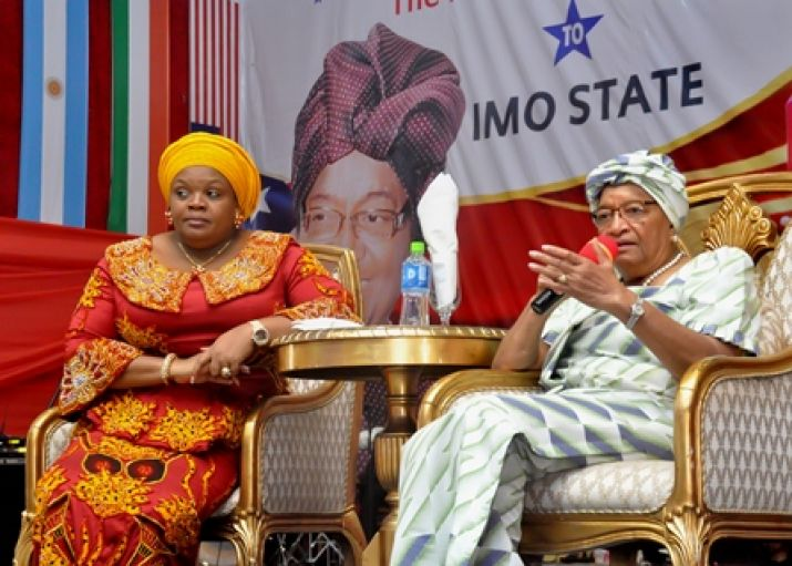 President Sirlraf responding to question pose to her by Imo Women