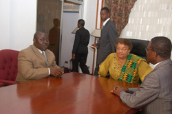 Speaker Tyler (L), President Sirleaf, and Methodist Bishop Rev. John Innis at the Foreign Ministry in Monrovia.