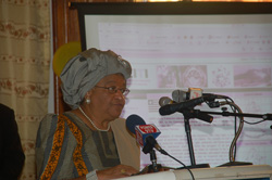 President Sirleaf formally launching the Extractive Industries Transparency Initiative.