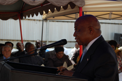 Vice President Boakai makes remarks at the event.