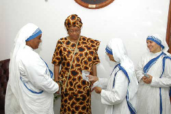 Mother Mary Nimala Joshi and other members of her delegation at the Foreign Ministry in Monrovia.