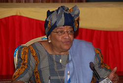 President Sirleaf addresses members of the press at the Ministry of Foreign Affairs in Monrovia.