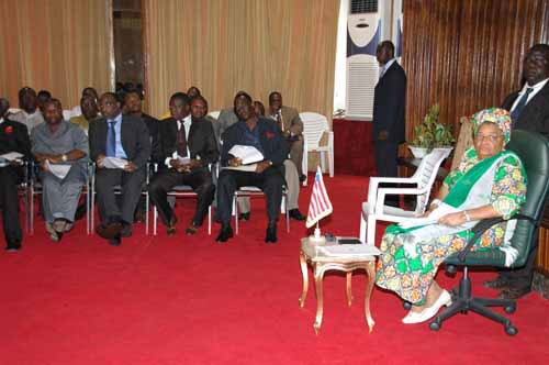 President Johnson Sirleaf and a cross section of political party representatives at the Ministry of Foreign Affairs