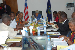 President Ellen Johnson Sirleaf and members of the Cabinet.