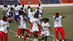 Liberian youth at the opening ceremonies of the peace tournament in Monrovia.