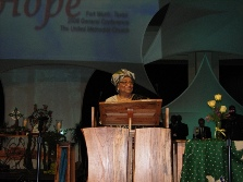President Sirleaf addresses the Methodist Conference in Fort Worth Texas