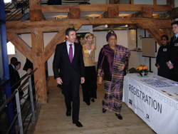 President sirleaf and Prime Minister Rasmussen enter the MDG3 conference
