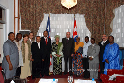 President Sirleaf with members of the Cuban and Liberian delegations