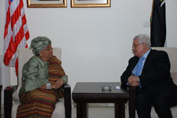 President Sirleaf and President Abbass hold talks in Ramallah.