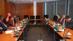 President Sirleaf and members of her delegation in a meeting with German officials.