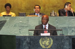 Vice President Joseph N. Boakai addresses the United Nations General Assembly in New York.