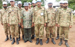Vice President Boakai with officers of the Pakistani Contingent of UNMIL in Voinjama, Lofa County.